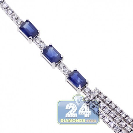 Womens Diamond Blue Sapphire Layered Necklace 18K White Gold