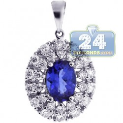 18K White Gold 1.55 ct Tanzanite Diamond Womens Cluster Pendant