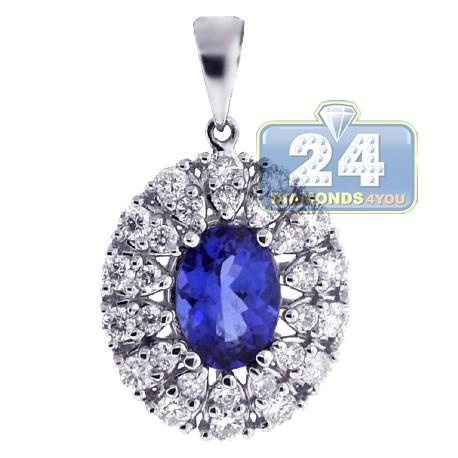 Womens Tanzanite Diamond Halo Pendant 18K White Gold 1.55ct