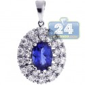 18K White Gold 1.55 ct Tanzanite Diamond Womens Halo Pendant
