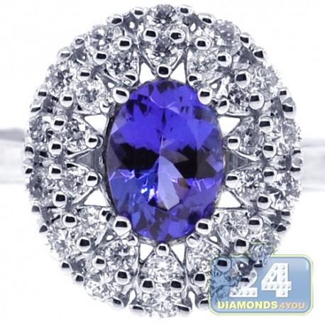 18K White Gold 1.51 ct Tanzanite Diamond Womens Cluster Ring