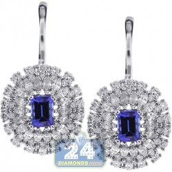 Womens Diamond Tanzanite Cocktail Drop Earrings 18K White Gold