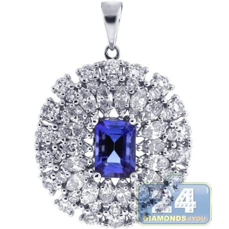 Womens Diamond Tanzanite Halo Pendant 18K White Gold 2.67 ct
