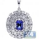 18K White Gold 2.67 ct Diamond Tanzanite Womens Halo Pendant