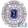 18K White Gold 2.57 ct Diamond Tanzanite Womens Cocktail Ring