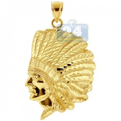10K Yellow Gold Diamond Cut Native American Indian Mens Pendant