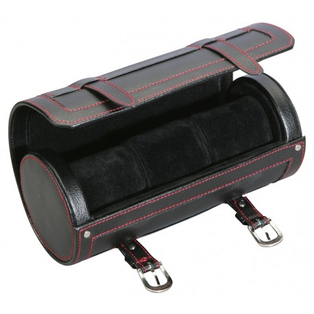 Diplomat Black Leather Travel Roll Triple Watch Box 31-443