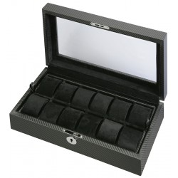 Diplomat Black Carbon Fiber 12 Watch Display Box 31-449