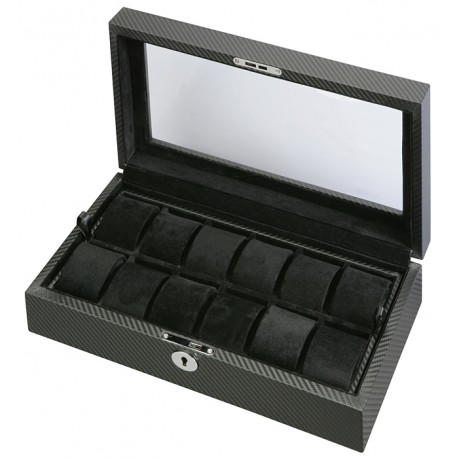 Diplomat Black Carbon Fiber Twelve Watch Display Box 31-449