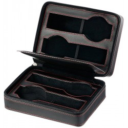 Diplomat Black Leather Four Watch Zippered Travel Case 31-468