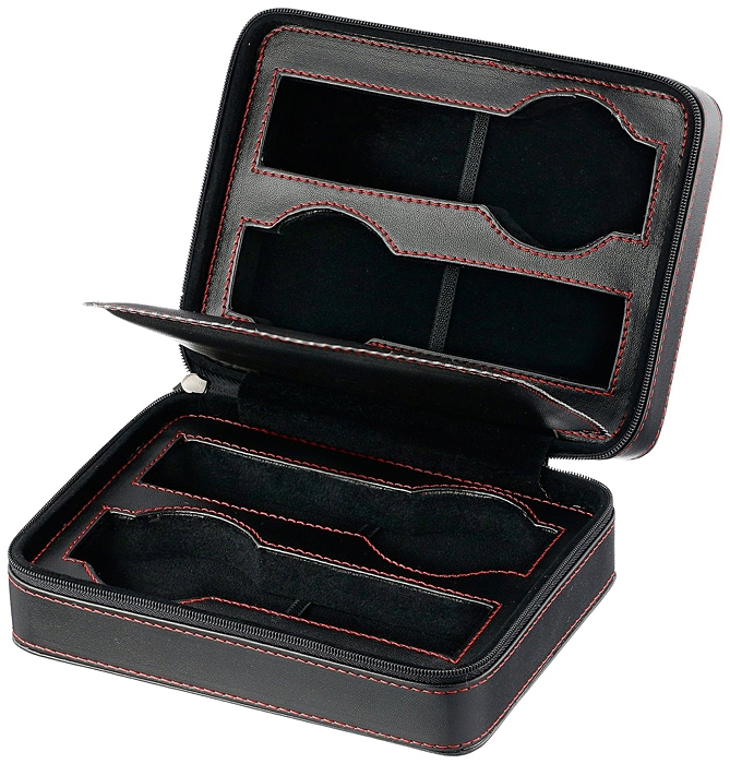 Diplomat Black Leather 4 Watch Zippered Travel Case 31 468
