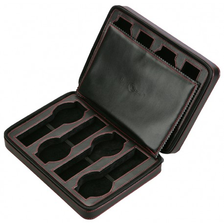 Diplomat Black Leather Eight Watch Zippered Travel Case 31-469