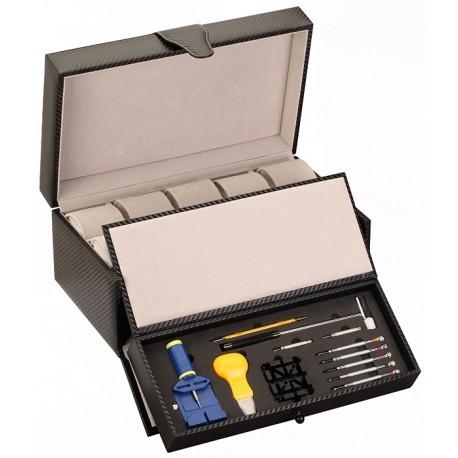 Diplomat Carbon Fiber Tool Kit Ten Watch Travel Case 31-46504