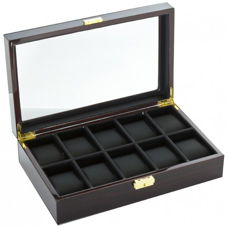 Diplomat Ebony Wood Ten Watch Display Box 31-57601