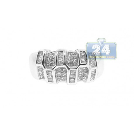 14K White Gold 0.80 ct Mixed Diamond Womens Wide Band Ring