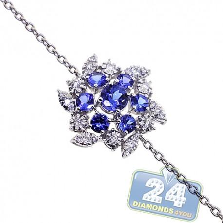 Womens Tanzanite Diamond Flower Bracelet 18K White Gold 1.59 ct
