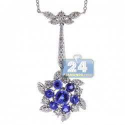 Womens Tanzanite Diamond Flower Pendant Necklace 18K White Gold