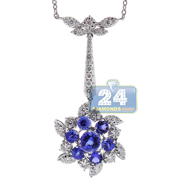 Womens tanzanite diamond flower pendant necklace 18k white gold mightylinksfo