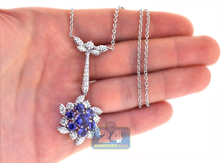 Womens Tanzanite Diamond Flower Pendant Necklace 18k White