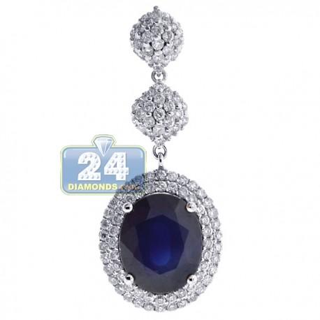 Womens Blue Sapphire Diamond Drop Pendant 18K White Gold 5.32ct