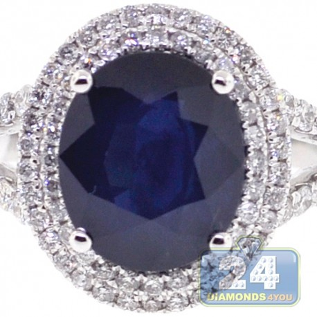 18K White Gold 5.63 ct Blue Sapphire Diamond Womens Ring