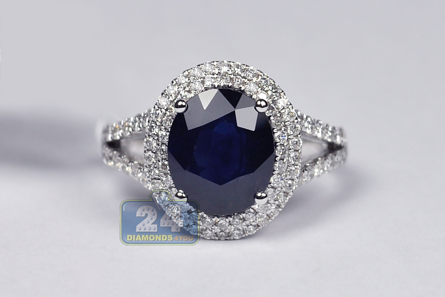 womens blue sapphire gemstone diamond ring 18k white gold. Black Bedroom Furniture Sets. Home Design Ideas
