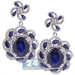 Womens Blue Sapphire Diamond Drop Earrings 18K White Gold 8.73 ct