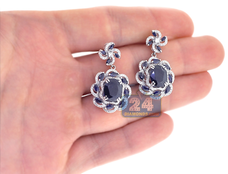 Womens Blue Sapphire Diamond Drop Earrings 18K White Gold