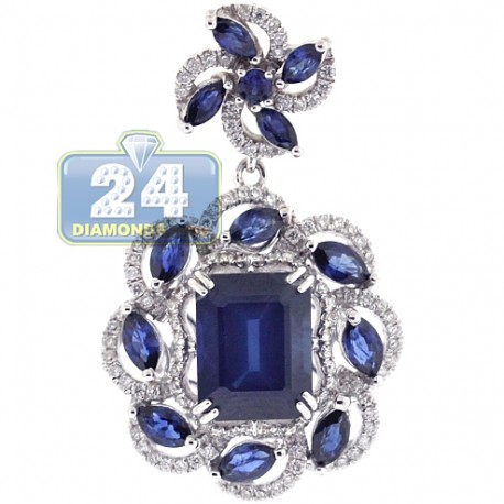 Womens Blue Sapphire Diamond Flower Halo Pendant 18K White Gold