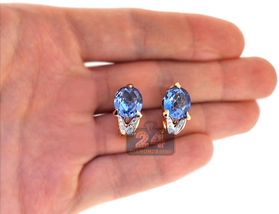 Womens Blue Topaz Diamond Huggie Earrings 18k Rose Gold 10