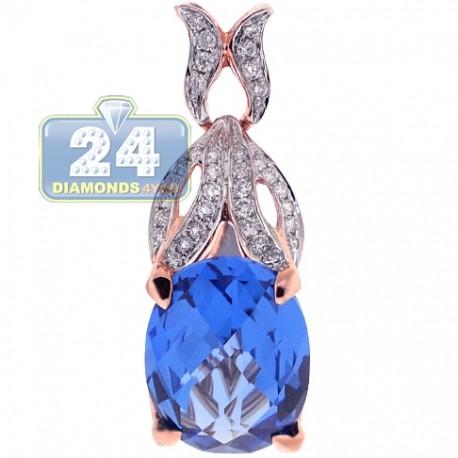 Womens Blue Topaz Diamond Drop Pendant 18K Rose Gold 13.88ct