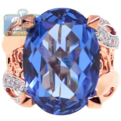 18K Rose Gold 13.97 ct Blue Topaz Diamond Womens Ring