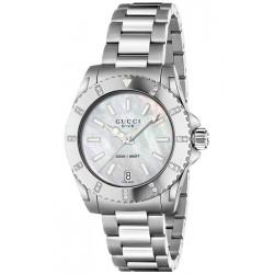 Gucci Dive Diamond Steel Bracelet Womens Watch YA136405