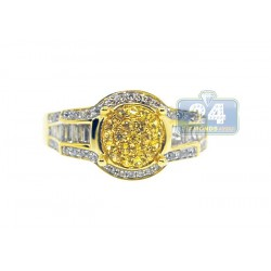14K Yellow Gold 0.84 ct Yellow Sapphire Diamond Womens Ring