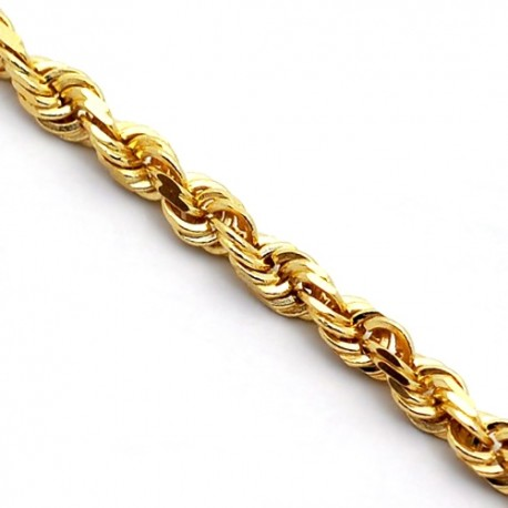 """Solid 14K Yellow Gold Mens Rope Chain 3 mm 22 24 26 28 30"""""""