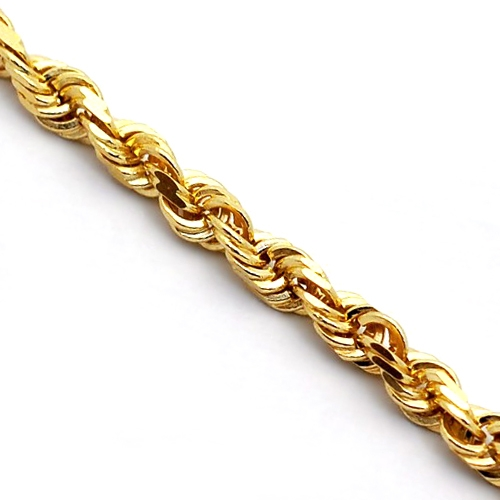 169a08c7d1e2c Italian 14K Yellow Gold Solid Rope Mens Chain 3 mm