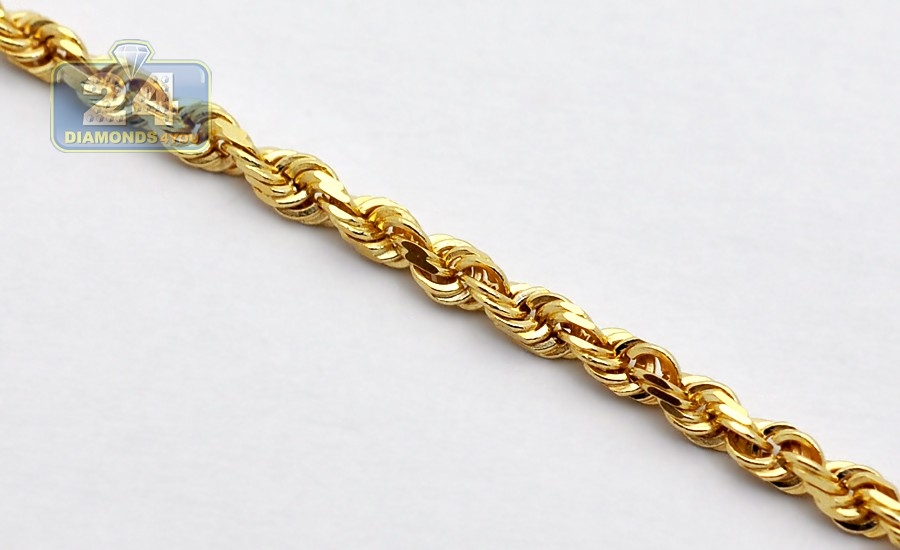 53e823d8dbe7d Italian 14K Yellow Gold Solid Rope Mens Chain 5 mm