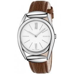 Gucci Horsebit 34 mm Brown Leather Steel Womens Watch YA140401