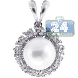 18K White Gold 0.48 ct Diamond 10 mm Pearl Womens Drop Pendant
