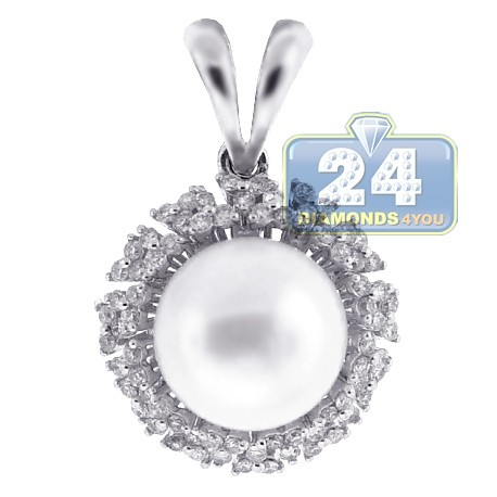 Womens Diamond 10mm Pearl Drop Pendant 18K White Gold 0.48ct