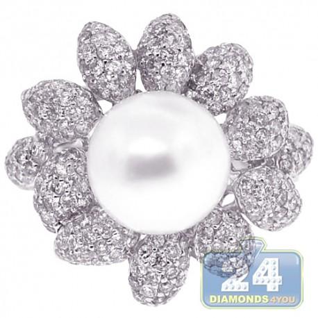 18K White Gold 1.66 ct Diamond 10 mm Pearl Womens Ring