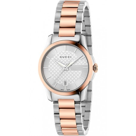 Gucci G-Timeless 27 mm Two Tone Bracelet Womens Watch YA126528