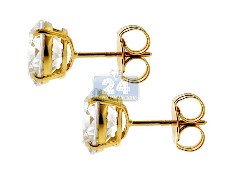 14k Yellow Gold 4 Mm Round White Cz Womens Push Stud Earrings