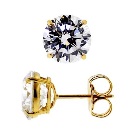14K Yellow Gold 7.60 ct Round White CZ Push Back Mens Stud Earrings 10 mm