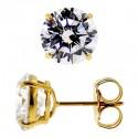 14K Yellow Gold 7.60 ct Round White CZ Push Stud Earrings 10 mm