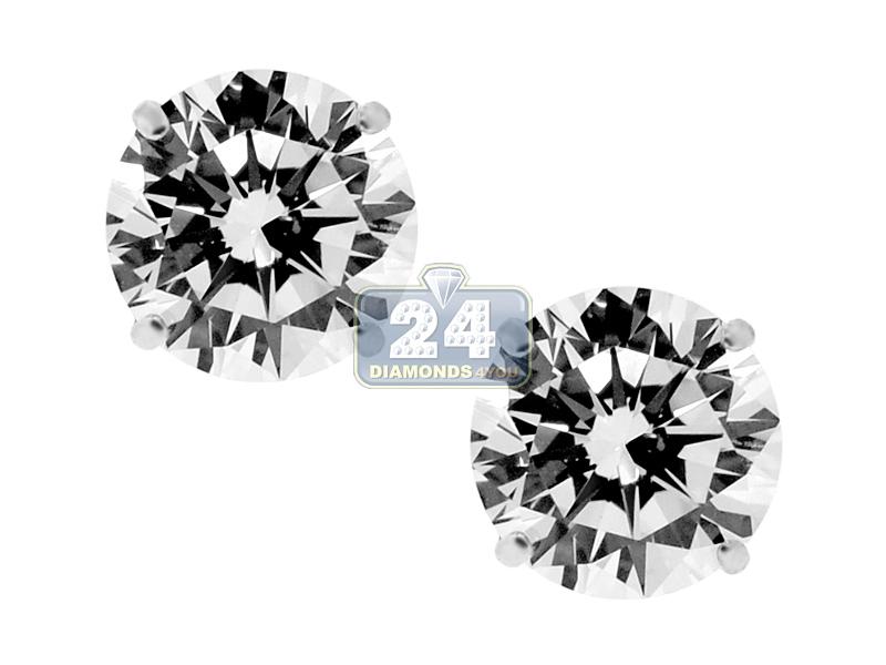 14K White Gold 3 mm Round CZ Kids Girls Push Stud Earrings