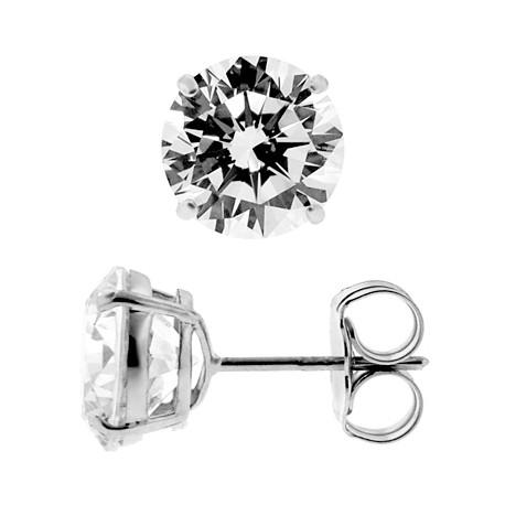 2e8857757 14K White Gold 4.00 ct Round CZ Push Back Womens Stud Earrings 8 mm