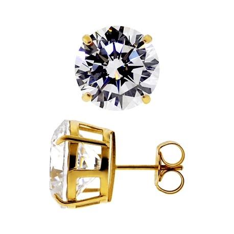 14K Yellow Gold 13.00 ct White Round CZ Push Back Mens Stud Earrings 12 mm
