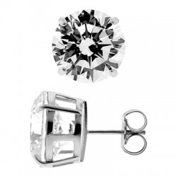 14K White Gold 13.00 ct Round CZ Push Back Mens Stud Earrings 12 mm