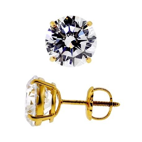 7464277f85b0b 14K Yellow Gold 7.60 ct Round CZ Screw Earrings 10 mm